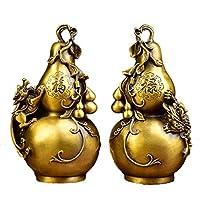 Nicexiongdei リビングルーム/エンタープライズ/政府などの銅ひょうたんの装飾に適した光の純粋な銅のGeomancyアートウェア/縁起の良いビジネスギフト (色 : イエロー)