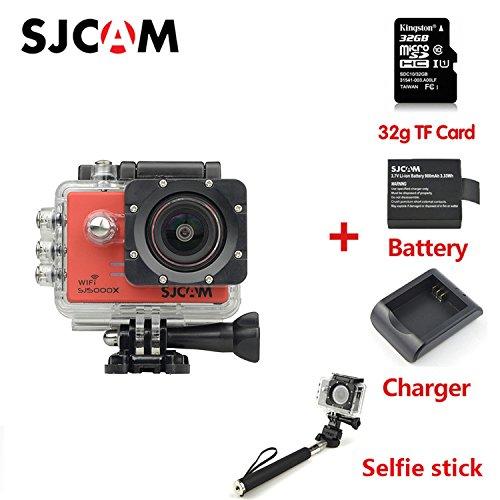 SJCAM SJ5000X スポーツカメラ WiFi搭載 30m防水 170度広角レンズ  4K 1080P 液晶画面 HD動画対応 ハルメット式 バイクや自転車、カートや車に取り付け可能 正規品 あけ +32G TF Card+電池+充電器+自撮り棒