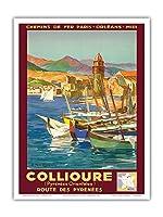 コリウール、フランス - Pyr?n?es Orientales (東ピレネー) - ピレネー山脈を抜ける道 - パリ・オルレアン・ミディ鉄道 - ビンテージな鉄道旅行のポスター によって作成された E・ポール・シャンプセックス 1934 - アートポスター - 23cm x 31cm