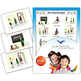 Instruction Flashcards in German Language - Flash Cards with Matching Bingo Game for Toddlers, Kids, Children and Adults - Size 4.13 × 5.83 in - DIN A6