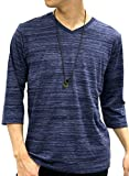 OVAL DICE(オーバルダイス) Tシャツ ネックレス セット 7分 袖 ゆる Vネック 無地 メンズ ネイビー LL