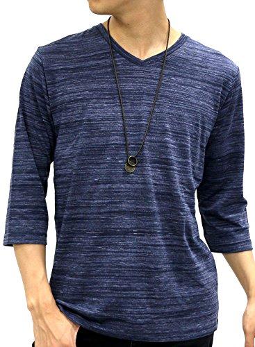 OVAL DICE(オーバルダイス) Tシャツ ネックレス セット 7分 袖 ゆる Vネック 無地 メンズ ネイビー M
