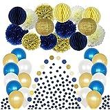 ネイビーブルーとゴールドテーマのパーティーデコレーション用品 50ピース クリームペーパーフラワーティッシュポンポン ハニカムボール ランタン 誕生日 結婚式 男の子 シャワーの退職記念日 ホワイトラテックスバルーン ガーランド ダークコンフェッティ