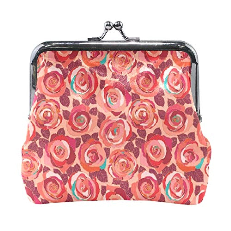がま口 小銭入れ 財布 赤いバラ コインケース レザー製 丸形 軽量 人気 おしゃれ プレゼント ギフト 雑貨