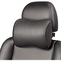 Memory Foam Car Neck Pillow Soft Leather Headrest for Driving Home Office Black (1PC)