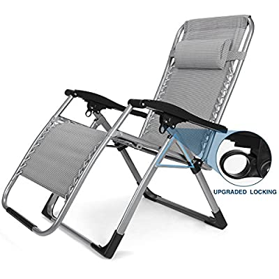 Oversized Zero Gravity Lounge Chair Adjustable Recliner Patio Outdoor Beach Chair with Cup Holder Tray & Headrest