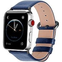 Fullmosa Apple Watch対応 バンド ベルト アップルウォッチバンド42mm/44mm apple watch 4 3 2 1 バンド 本革レザー 交換バンド ラグ付き 42mm/44mm ダークブルー+スモーキーグレーバックル