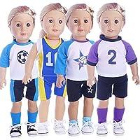 hongtoハンドメイド4個Football sportsuits Clothing Lovely服コスチュームfor 14を16インチAliveベビー人形and 18インチアメリカンガール人形