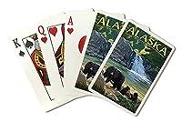 アラスカ–ブラックBears and Waterfall ( Playingカードデッキ–52カードPokerサイズwithジョーカー)