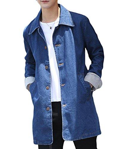 PIITE メンズ デニム コート 無地 シンプル ゆったり デニム ジャケット カジュアル シンプル ジージャン 春 秋 ロング アウター おしゃれ スタイリッシュ トレンチコート 韓国風 スプリングコート(8)