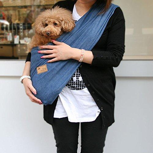 コンパクト・デニムドッグスリング[飛出し防止フック付] L ブル― DogPeace(ドッグピース) 小型犬用 子犬 抱っこ紐 ひも バックスリング バッグスリング ペット PET キャリー キャリア