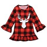 NIKE スニーカー ベビー服セット、ppbuy幼児用キッズ赤ちゃん女の子Deer Plaidプリンセスパーティーミスコンテストクリスマスドレス服 3T レッド