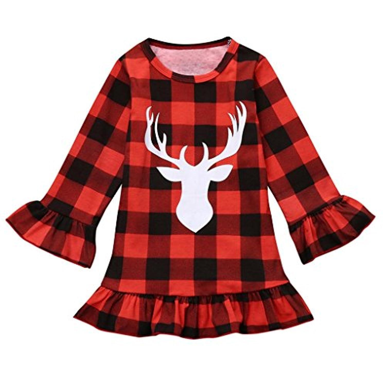 ベビー服セット、ppbuy幼児用キッズ赤ちゃん女の子Deer Plaidプリンセスパーティーミスコンテストクリスマスドレス服 3T レッド