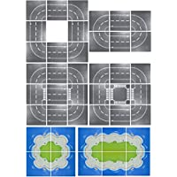 【aereo di carta】レゴ(LEGO)ブロック 互換性 シティ ロードプレート 海岸 基礎版 道路 基本 アイデアボックス (直線4枚+カーブ4枚)