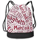 ジムサック Mentaiko Spaghetti 明太子スパゲッティ ナップサック 巾着袋 バックパック 超軽量 バッグ 男女兼用 大容量 Black One Size
