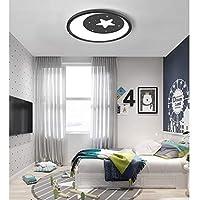 LXX-シーリングライト 子供部屋LEDの天井灯、簡単な星の月の寝室の調査ランプ (Color : Black, サイズ : 50cm)