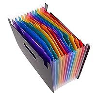 SNOWINSPRING 12ポケット拡張ファイルフォルダ/A4拡張可能ファイルオーガナイザ/ポータブルアコーディオンファイルフォルダ/高容量多色スタンド/プラスチック製ビジネスファイルオーガナイザ
