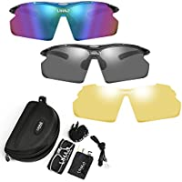 LIHAO スポーツサングラス 偏光レンズ UV/紫外線カット 交換フレーム2枚 専用偏光レンズ3枚 UV400 スポーツメガネ ユニセックス