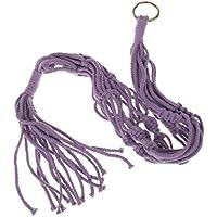 ノーブランド品   4脚 綿 ロープ ホルダー ポット ハンガー バスケット 植物ホルダー 収納バッグ 90cm 6色選べる - 紫