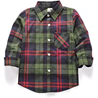 OCHENTA Little Kids Boys' Girls' Long Sleeve Button Down Plaid Flannel Shirt