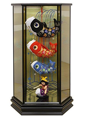 五月人形 室内用鯉のぼり 脇飾り 六角ケース飾り 金太郎鯉の...