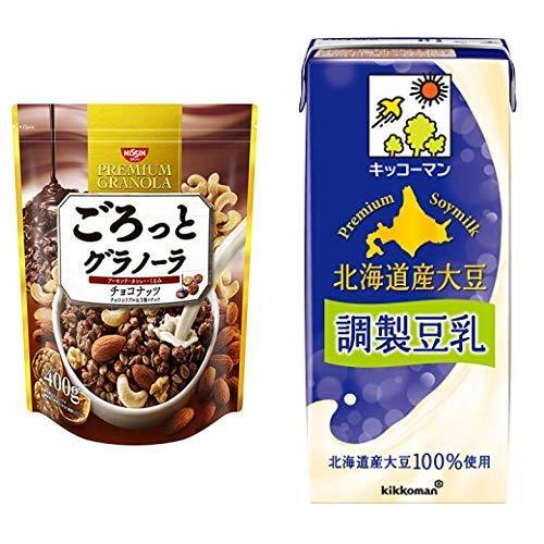 【セット買い】ごろっとグラノーラチョコナッツ400g 400gX6袋 + キッコーマン飲料 北海道産大豆調製豆乳 1000ml×6本