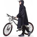 GXQ-S レインコート 自転車 バイク ロングポンチョ フリーサイズ 雨具 通勤 通学 男女兼用 (ネイビー)