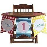 パーティーパーク 3枚セット 誕生日 1歳 ファーストバースデー ペーパー ガーランド フラグ インテリア 写真背景 選べる 2種類 (赤)