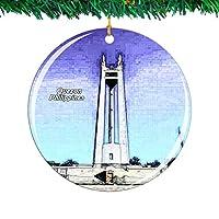 Weekino フィリピンケソンシティクリスマスオーナメントシティ旅行お土産コレクション両面 磁器2.85インチ ぶら下がっている木の装飾