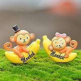 バナナモンキー ガーデンドールハウスデコレーション 樹脂 装飾品 2PCS, (色 : 黄)