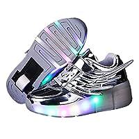 光る LED ローラーシューズ ローラーシューズ スニーカー 靴 子供用 キッズ プレゼント ピンク(シルバー (1輪) 20.5cm(33))