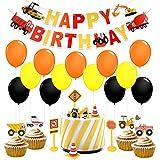 子供誕生日パーティー用品 建設車 happy birthdayバナー Carカップケーキトッパー カラフルな風船 男の子 子供  誕生日パーティー 装飾 100日お祝いパーティー 出産祝いパーティー用品 47枚セット