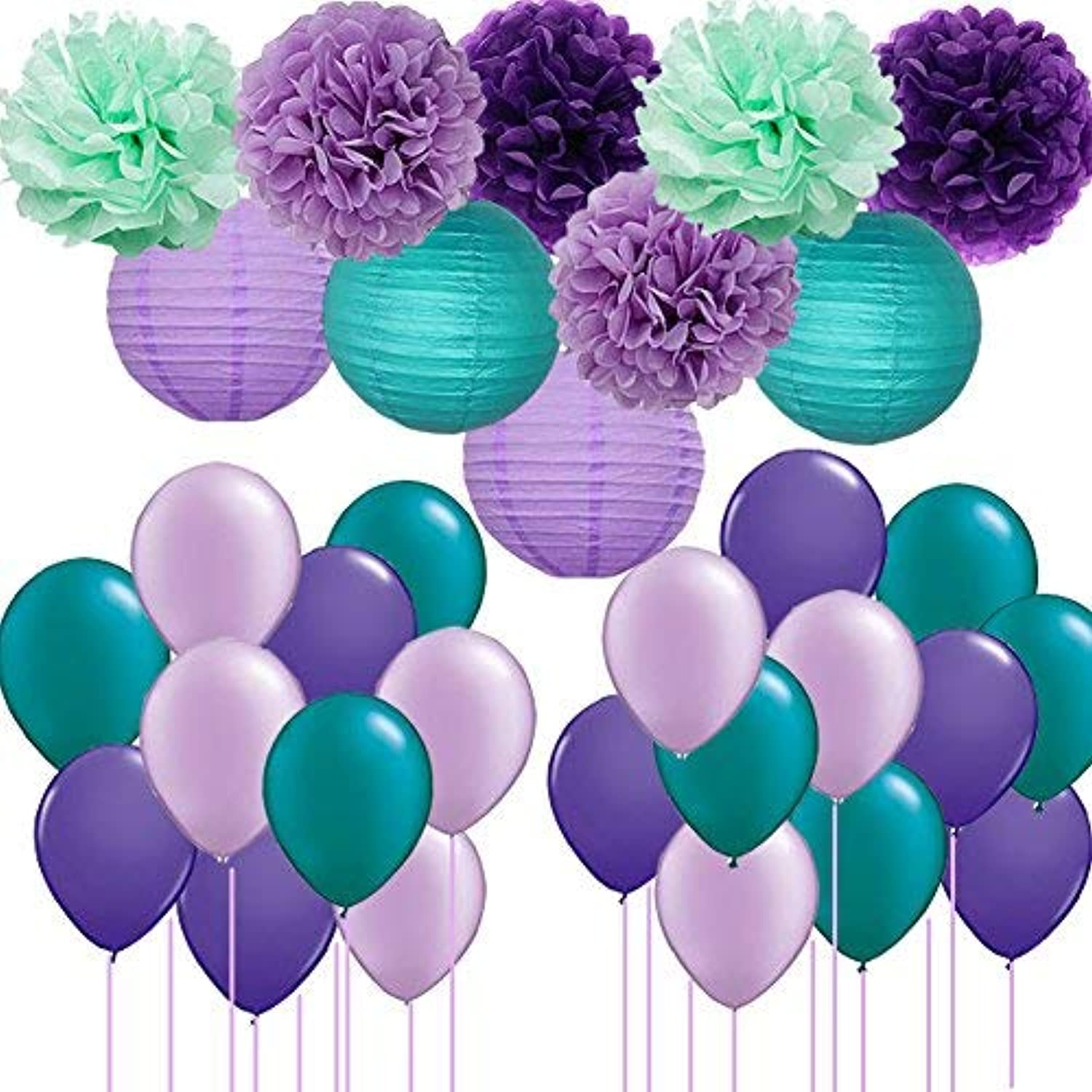 Mermaid Party Supplies/Frozen Party 31pcs Tissue Pom Pom Paper Flowers Paper Lanterns with Balloons for Under The Sea Party The Little Mermaid Baby Shower/Birthday Party Decorations [並行輸入品]