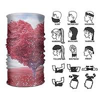 赤いハート型のバラ バンダナ 多機能チューブ型 帽子 フェイスマスク ヘアバンド マジックスカー 汗止め 伸縮性 通気性 ヘッドバンド 男女兼用 フリーサイズ ヨガ/スポーツ/洗顔用に 使い方10通り以上