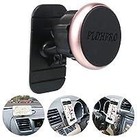 車載スマホスタンド、磁気ホルダー、PLDHPRO 汎用型マグネットホルダー 車載、マイカーのインパネに貼る、360°旋回調節可能 スマホホルダー、iPhoneサムサンSONYグーグル、すべての「4-6.4」スマホGPS携帯電話に対応できる(ローズゴールド)