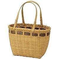 リボン風ラインがおしゃれなラタン製かごバッグ/バスケットのカラー:ブラウン