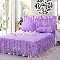 キルトベッドカバーベッドスカートレース3ピースセットシート軽量ダブルサイズ滑り止めバランス夏寝具,Purple5-180cm*220cm