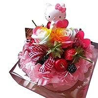 誕生日プレゼント キティ入り 花 フラワーギフト ケーキ レインボーローズ プリザーブドフラワー入り ケース付き