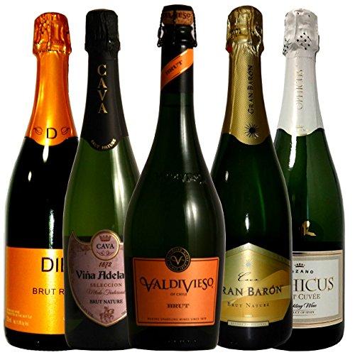 全米ナンバーワンカヴァ入り スパークリングワイン飲み比べ ソムリエ厳選ワインセット 750ml 5本