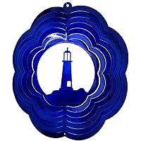 Stainless Steel Wind Spinner, 25cm Economy Lighthouse, Blue