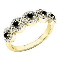 10Kイエローゴールドラウンド宝石用原石&ダイヤモンドレディースSwirl婚約リング