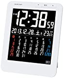 ADESSO(アデッソ) 電波目覚まし時計 マンスリーカレンダー電波時計 デジタル表示 置き掛け兼用 ホワイト KW9292