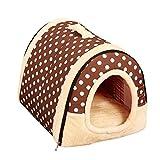Ruibaolai ペット猫犬用 ハウス 暖かい ベッド 小型犬 犬小屋 折りたたみ 犬ベッド  ドーム型 2WAY 室内用 中敷き付き (L:60*45*45cm, ブラウンドット)