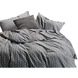Grey Quilt Cover Set - by Wake In Cloud, 100% Cotton Doona Cover Bedding, Chevron Zig Zag Geometric Modern Pattern Printed on Gray (3pcs, Queen Size)