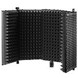Neewer NW-1 折りたたみ式で調整可能なスタジオレコーディングマイクウインドスクリーン「黒」 アルミアコースティック分離マイクシールド 高密度フォームとノンスリップフィート付き スタンドマウント、デスクトップ使用に対応