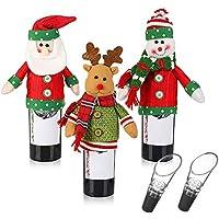 クリスマスのワインのボトルの装飾、クリスマスの装飾のための3個の手作りのワインボトルのセーター醜いクリスマスのセーターの党の装飾