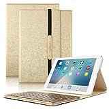 Boriyuan iPad 9.7 キーボードケース ワイヤレスBluetoothで接続 7色のバックライト キーボード取り出し可能 良質PUレザーケース iPad 9.7 キーボードカバー (ゴールド)