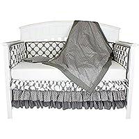 Bacati Polka Dots and Stripes 8-in-1 Cotton Baby Crib Bedding Set Grey [並行輸入品]