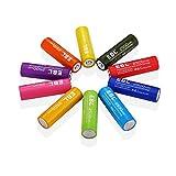 EBL 虹シリーズ 充電式ニッケル水素電池 単3形 10個入 電池ケース付き(最小容量2500mAh、約1200回使用可能)
