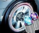 クルマ バイク タイヤ バルブキャップ LED ライト センサー付き レインボー【4個セット】電池12個付き(自転車にも加)